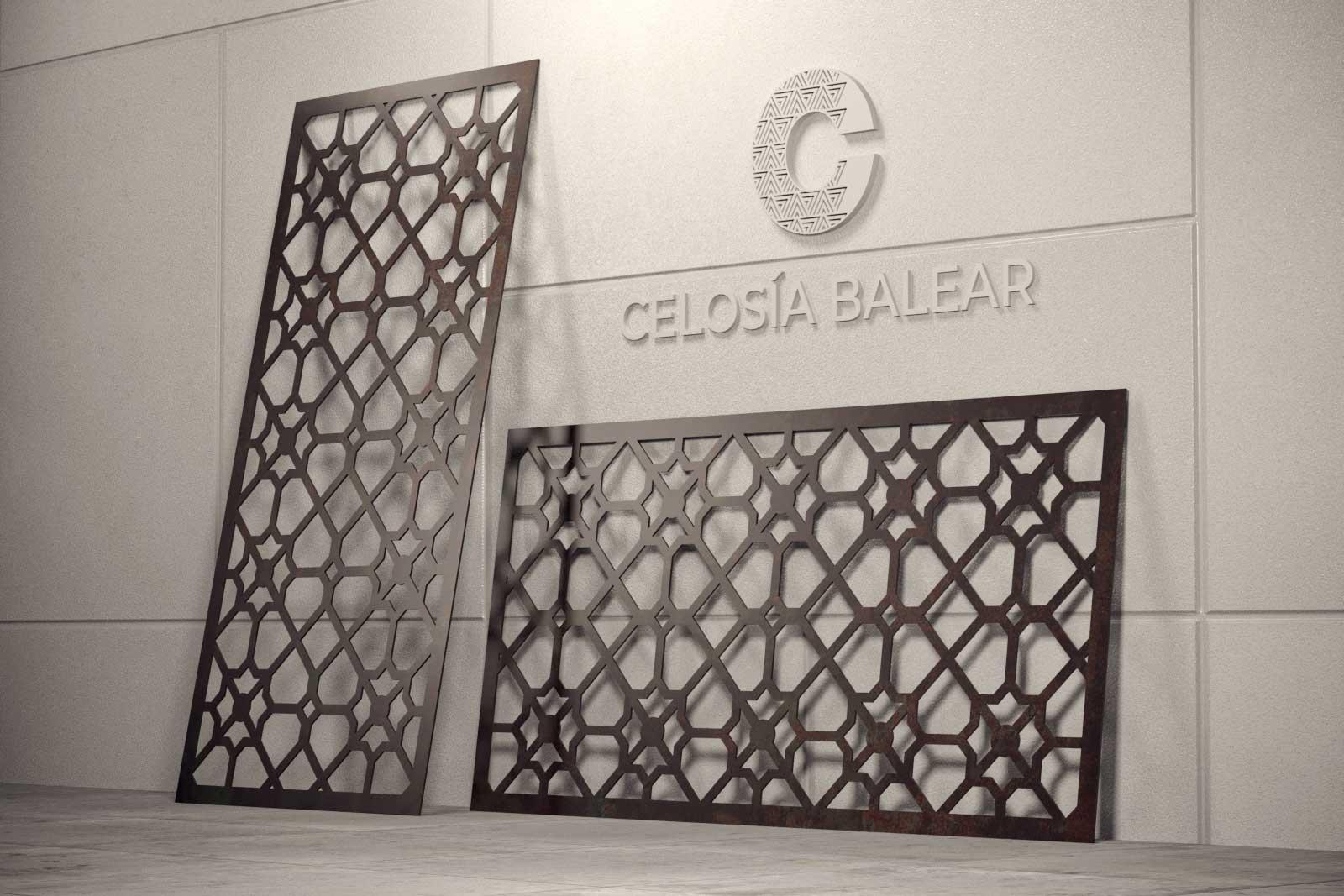 corte en placa metálica de celosía con diseño arábico
