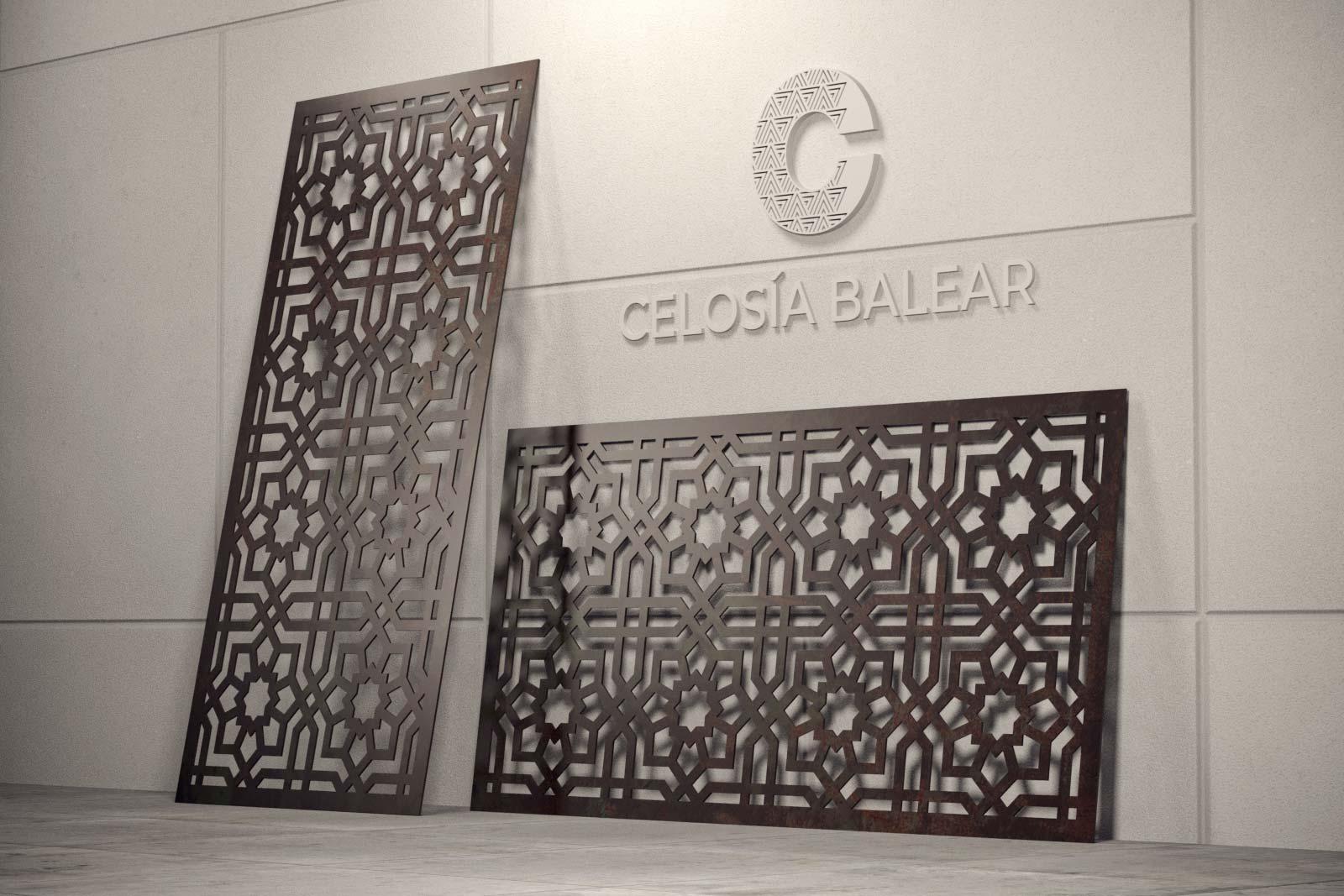 decoración arábica en una celosía metálica