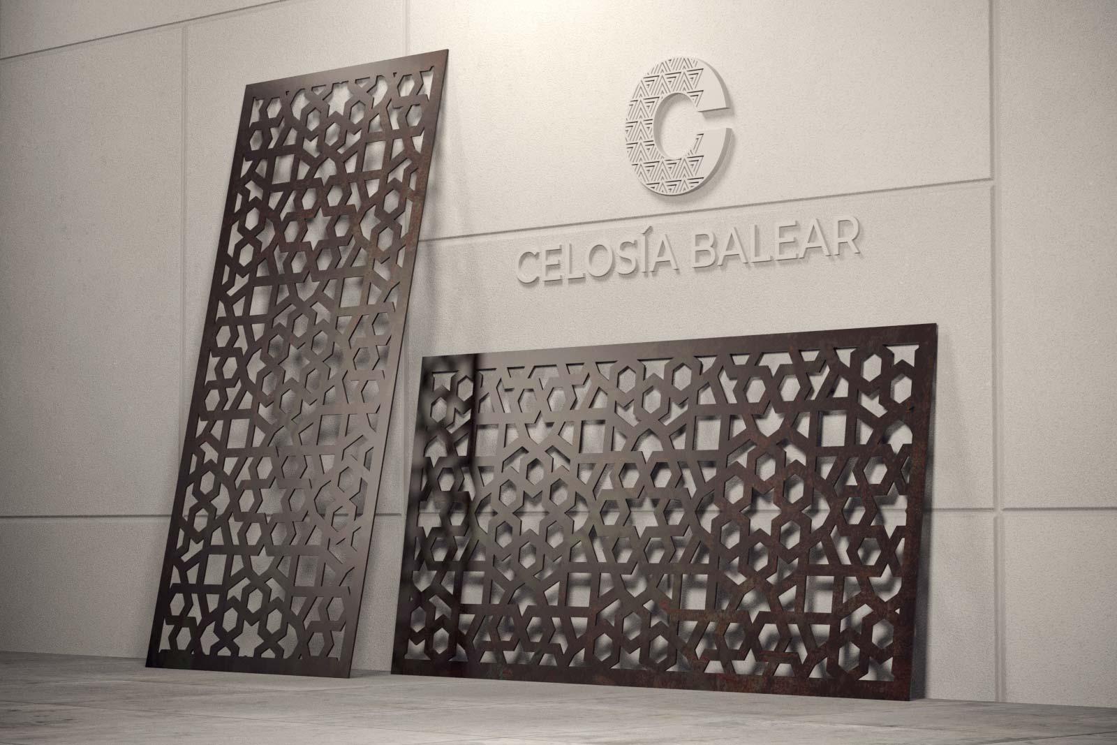 placa de celosía metálica con diseño arábico