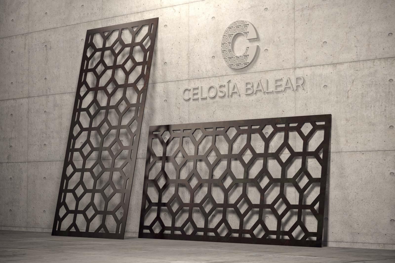 placa de celosía mallorquina con diseño cubista