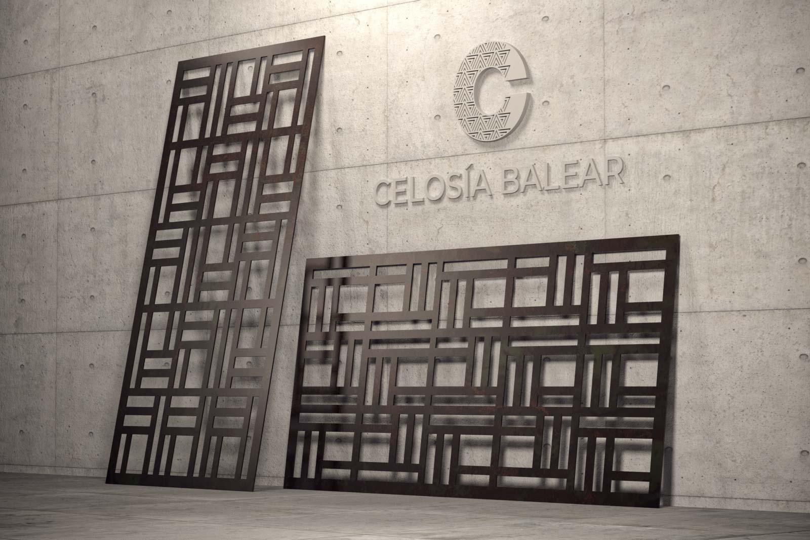 placa de celosía metálica con diseño cubismo