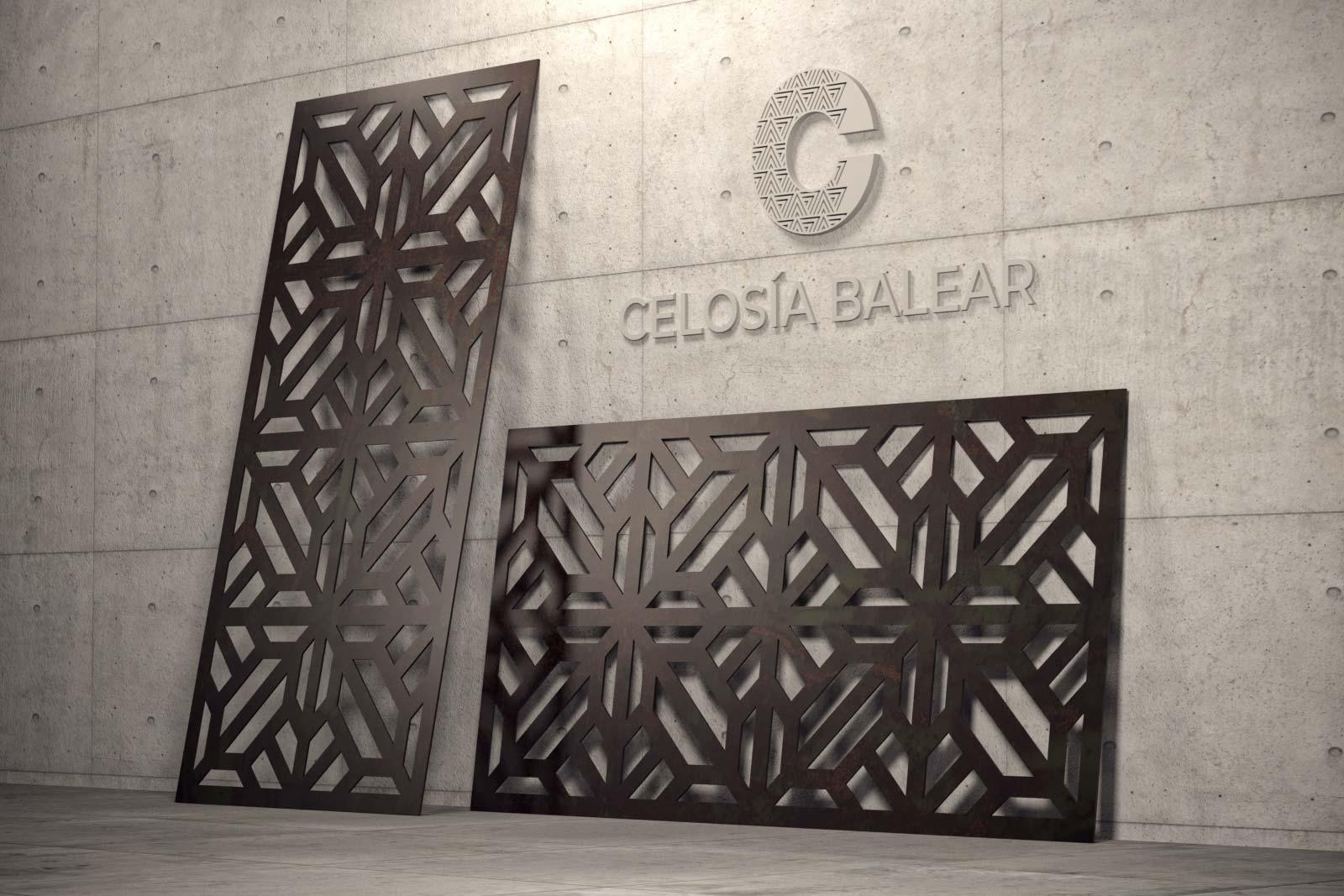 diseño cubista de celosía metálica