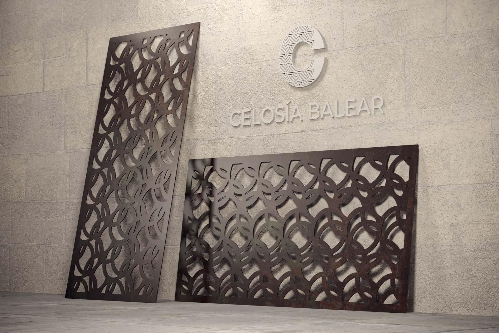 Diseño de círculos en placa de celosía metálica