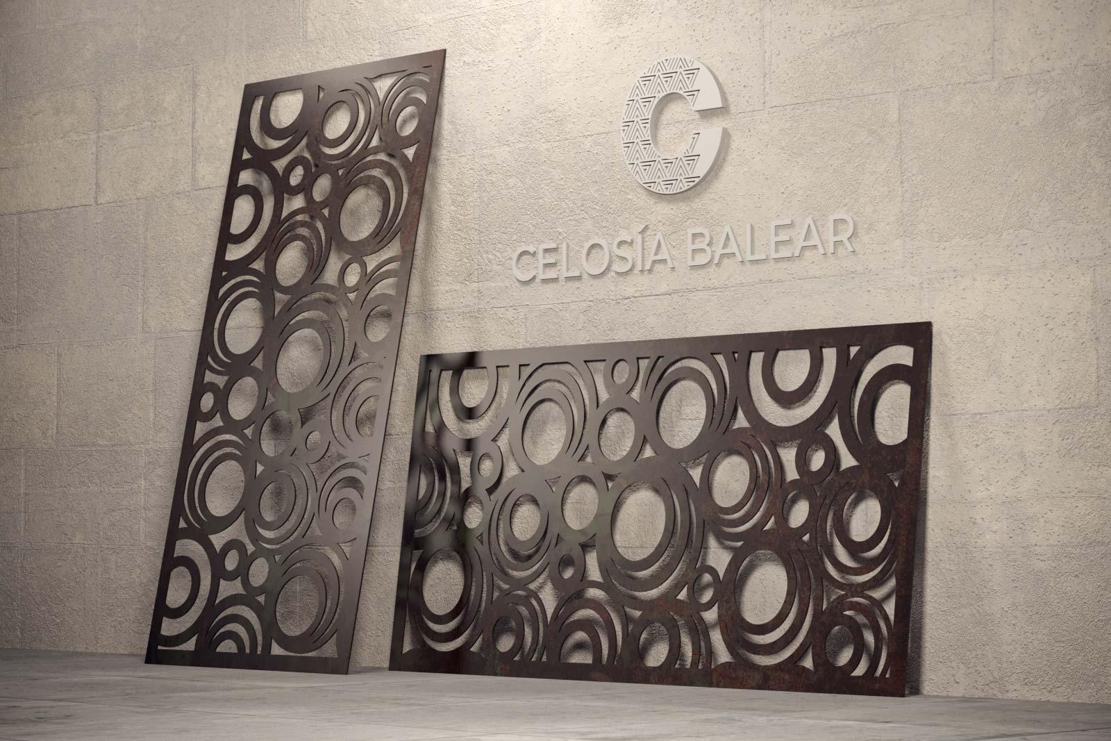placa metálica con diseño de círculos