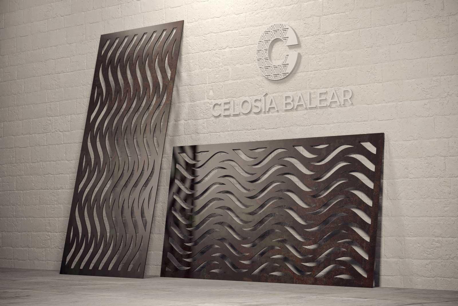 Líneas curvas en una placa de Celosía Balear