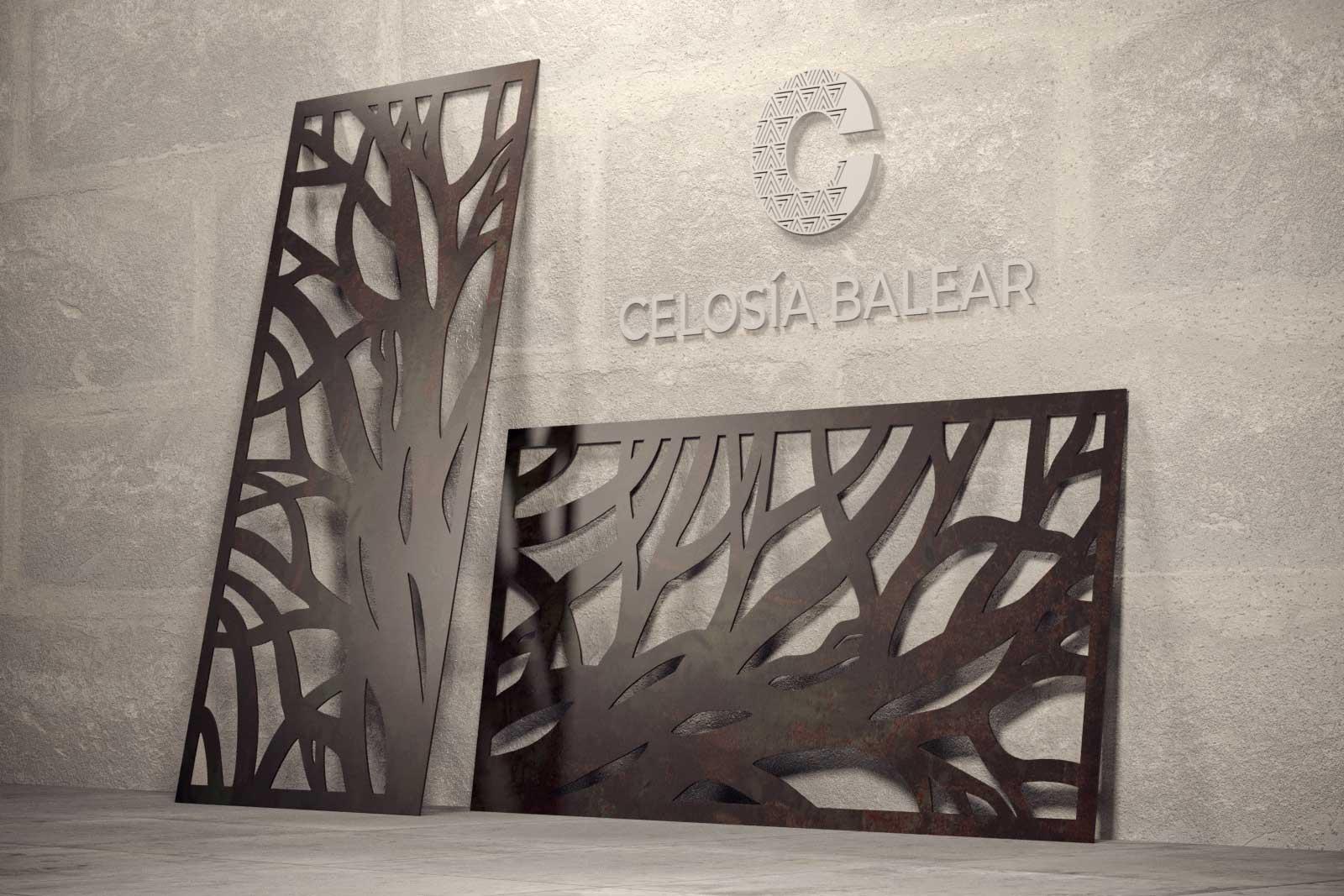 Placa de celosía con cortes de forma de árbol