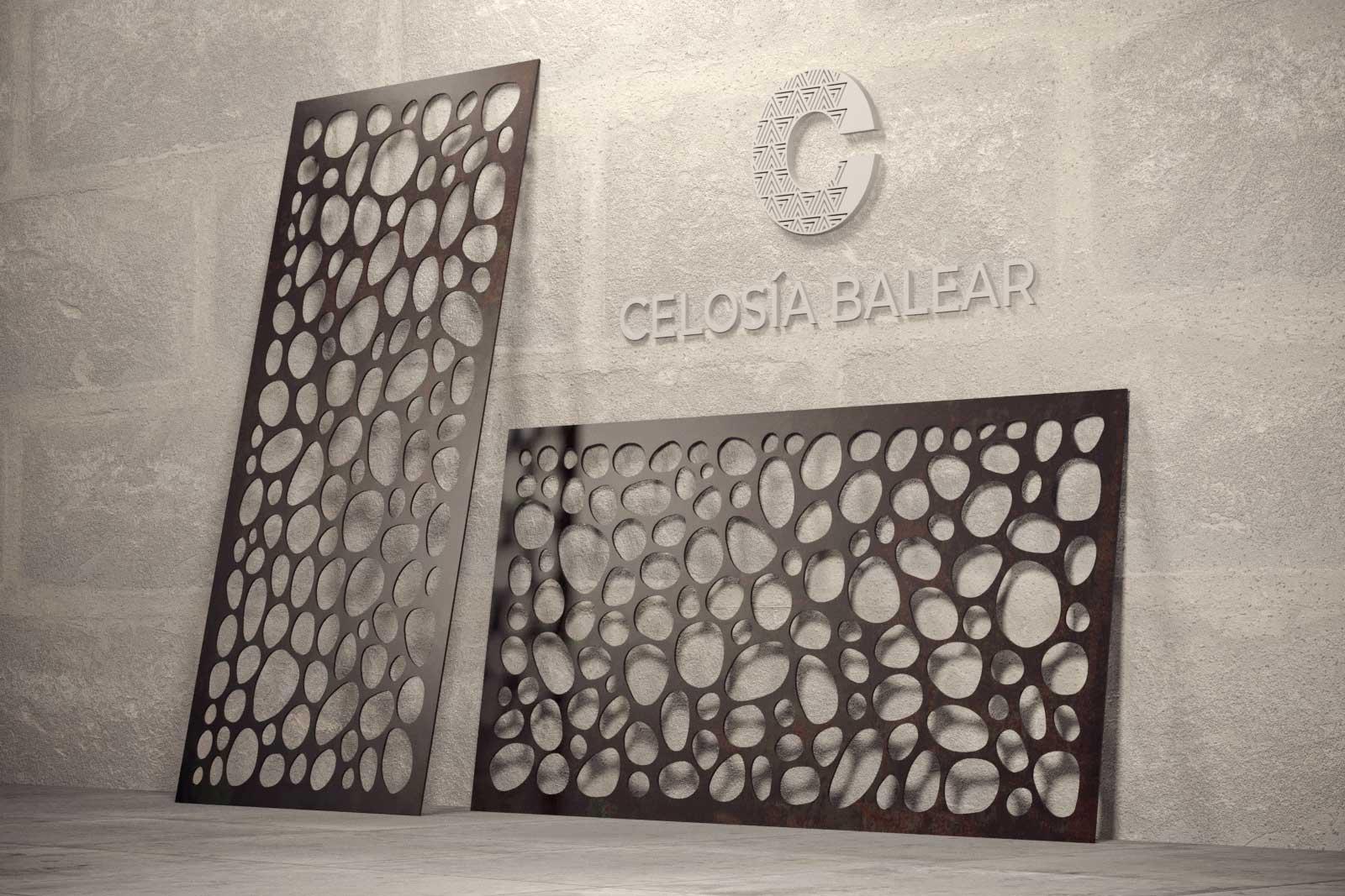 Formas orgánicas de piedras cortadas sobre placa metálica