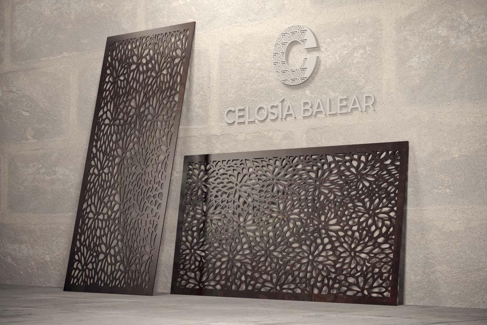 formas orgánicas en una placa de celosía metálica