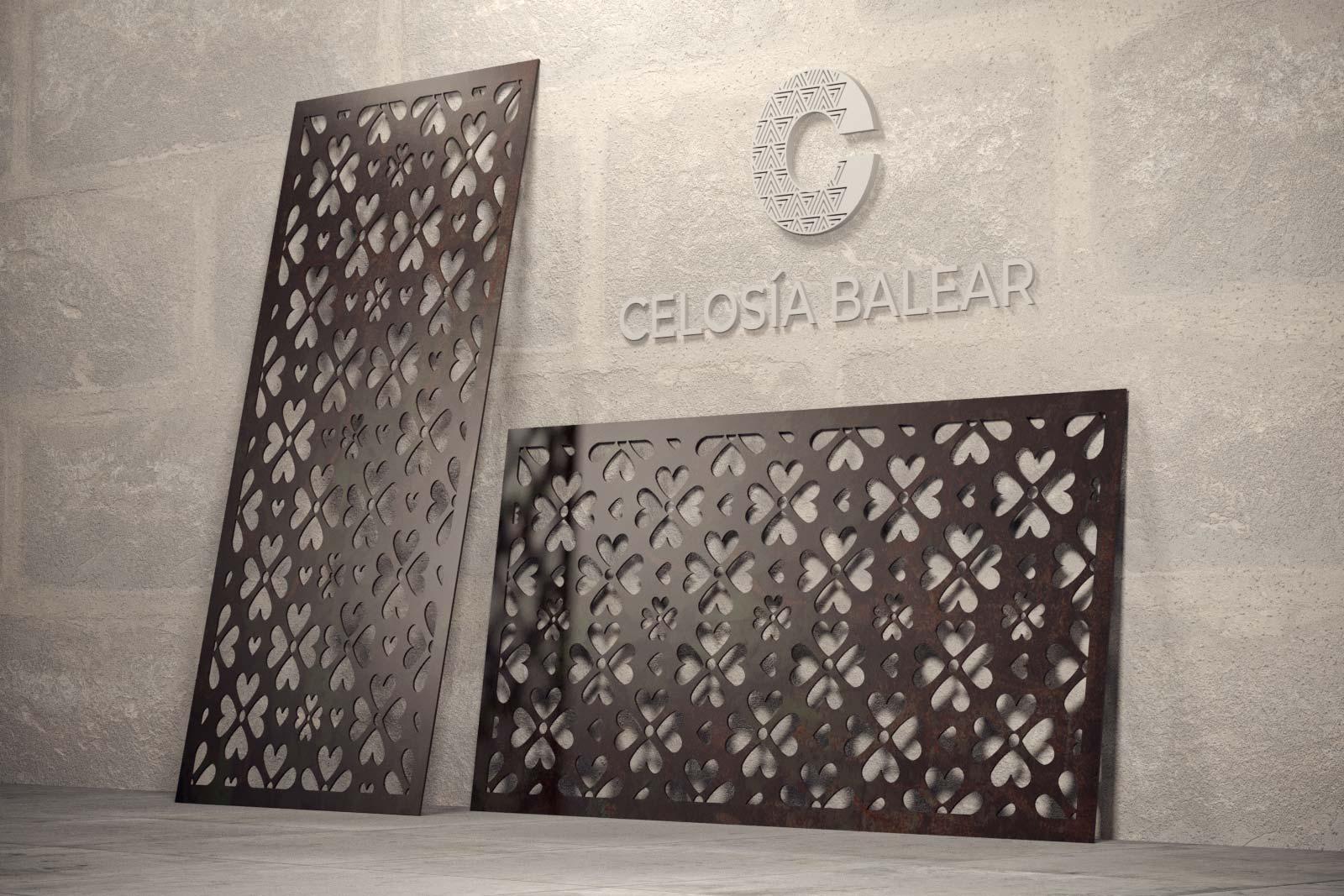 placa de celosía metálica con diseño natural